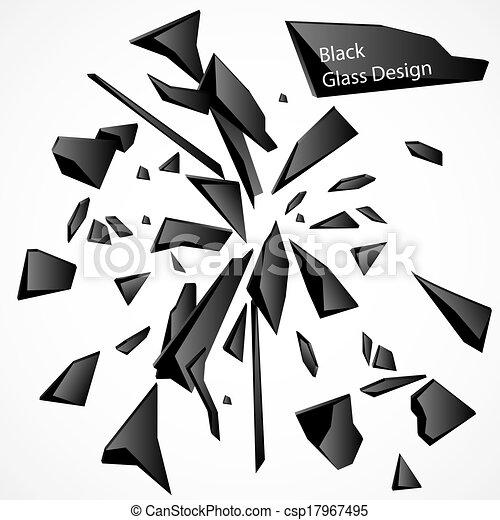 cassé, vecteur, noir, dessin, verre - csp17967495