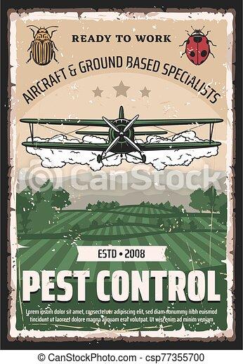 casse-pieds, chiffon, contrôle, pesticides, biplan, récolte - csp77355700