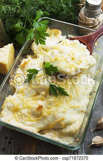Casserole with fish and potatoes - csp71872370