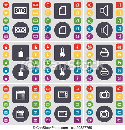 Cassette, File, Sound, Flag tower, Thermometer, Printer, Calendar, Microwave, Camera icon symbol. A large set of flat, colored buttons for your design. Vector - csp29827760