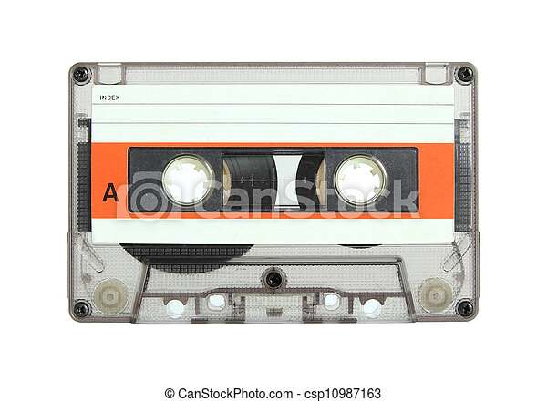 cassette tape isolated on white - csp10987163