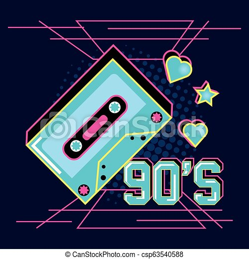 cassette tape of nineties and decoration - csp63540588