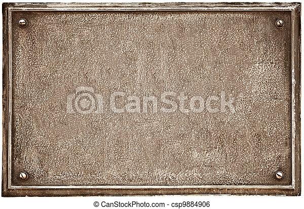 Una vieja placa de hierro en blanco - csp9884906
