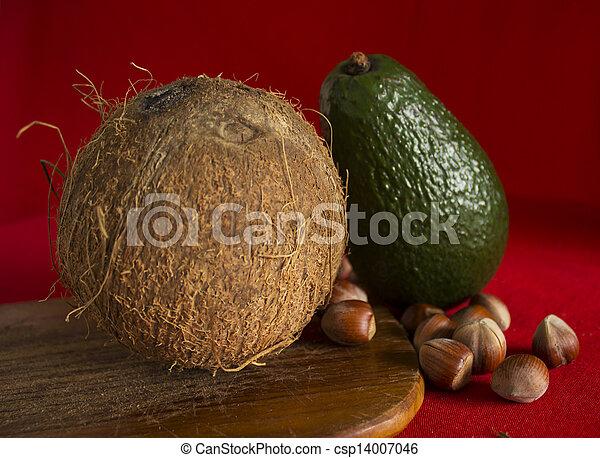 castagna, noce di cocco, avocado - csp14007046