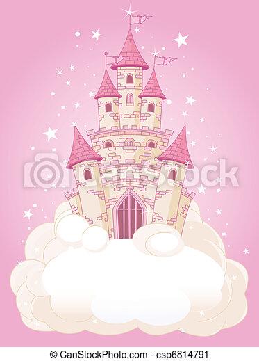 castelo, céu, cor-de-rosa - csp6814791