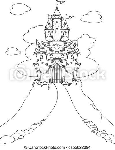 castelo, coloração, magia, página - csp5822894