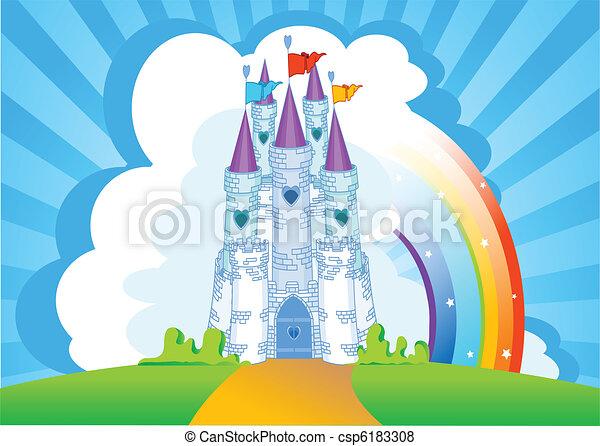 castelo, magia, cartão, convite - csp6183308