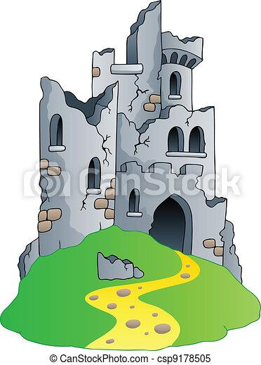 castelo, ruínas, colina - csp9178505