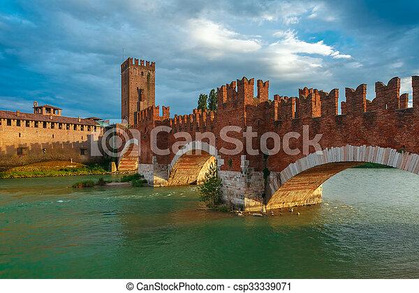 Castelvecchio at sunset in Verona, Italy. - csp33339071