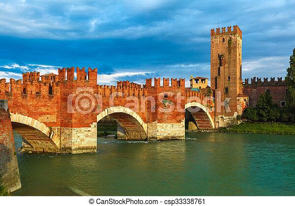 Castelvecchio at sunset in Verona, Italy. - csp33338761
