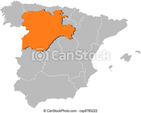 Leon Spagna Cartina.Castiglia Mappa Evidenziato Leon Spagna Mappa Castiglia Politico Regioni Highlighted Spagna Parecchi Dove Le N Canstock
