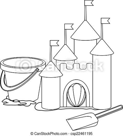 Libro de color: castillo de arena de dibujos animados - csp22461195