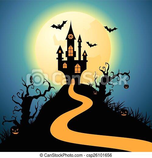Castillo de Noche de Brujas - csp26101656