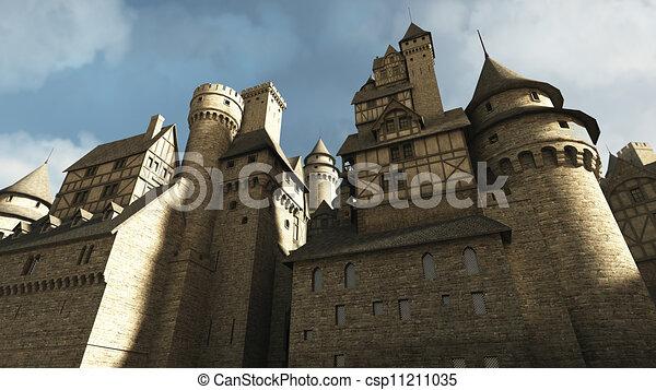 Los muros del castillo medievales - csp11211035