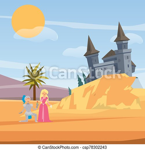 Castle and kneeled knight before princess love cartoon vector illustration. Brave warrior, princess and castle love fairytale. Kknight saves girl game for kids or book cover. - csp78302243