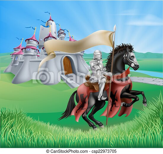 Castle and knight landscape - csp22973705