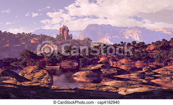 Castle And Lake - csp4162940