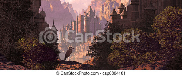 Castle And The Great Blue Heron - csp6804101