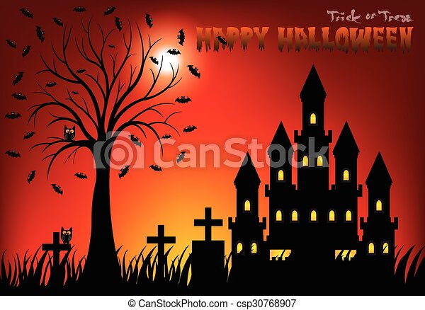 Castle at night with tree, cemetery - csp30768907