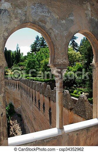 Castle battlements, Granada. - csp34352962