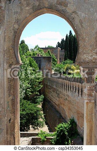 Castle battlements, Granada. - csp34353045