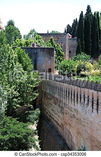 Castle battlements, Granada. - csp34353006
