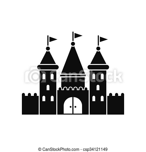 Castle Black Simple Icon Isolated On White Background