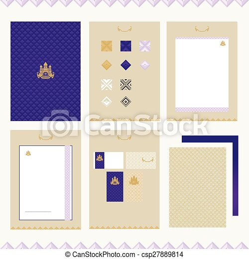 Castle brand-book template . Set of design elements for... vector ...