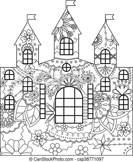 Castle coloring vector silhouette stencil template castle coloring castle coloring csp38771097 maxwellsz