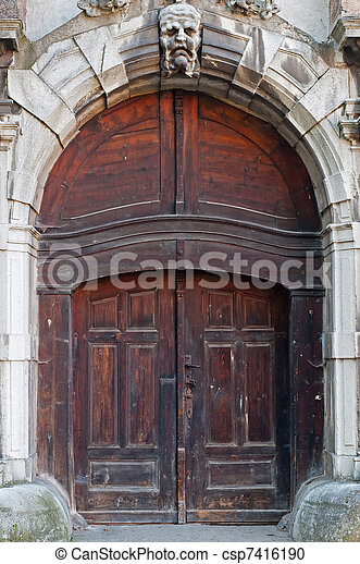 Castle Door - csp7416190 & Castle door during the daytime vertical shot. stock photography ...