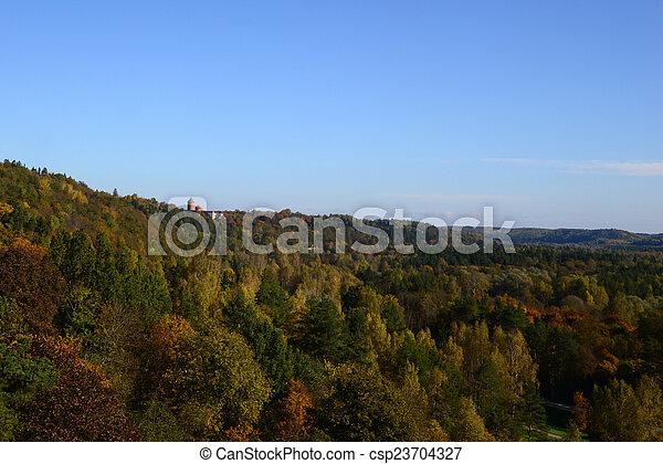 castle far away among the trees - csp23704327