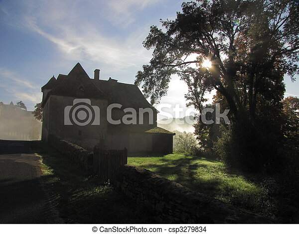 Castle, Fenelon, rampart, fortification, Fog - csp3279834