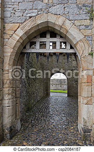Castle gate with portcullis - csp2084187