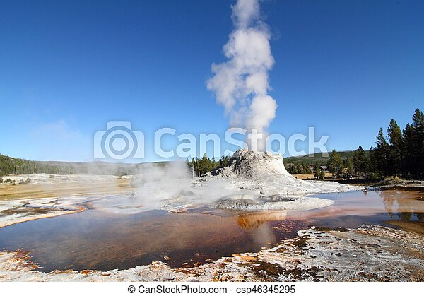 Castle Geyser in Yellowstone - csp46345295