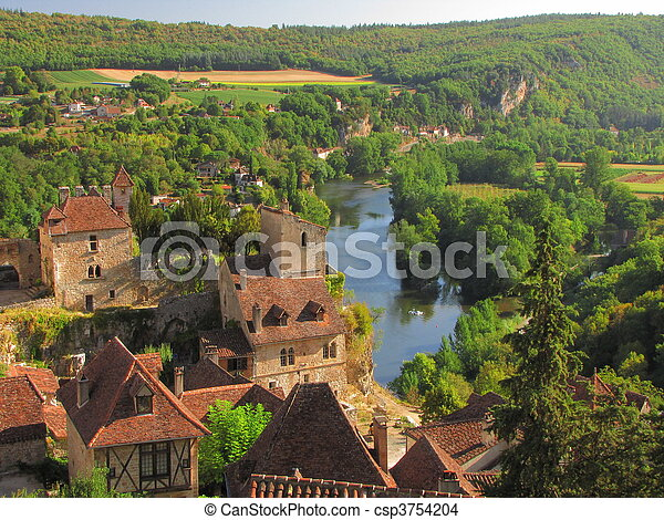 Castle, house, roof, Lapopie - csp3754204