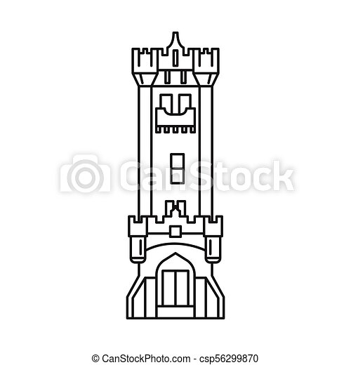 Castle Icon Outline Style