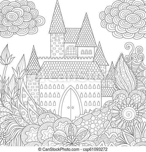 - Castle. Line Art Design Of Jungle And Castle Coloring Book For Adults.  Vector Illustration. Antistress Freehand Sketch CanStock