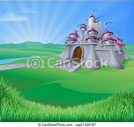 Castle Landscape Illustration - csp21426187
