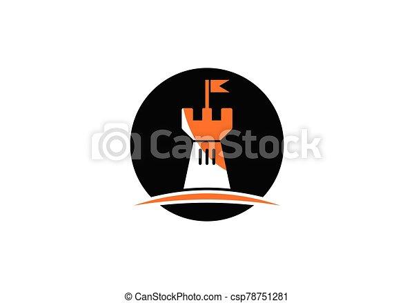 Castle logo icon vector illustration design template - csp78751281