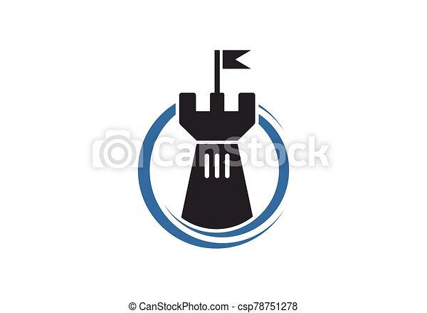 Castle logo icon vector illustration design template - csp78751278