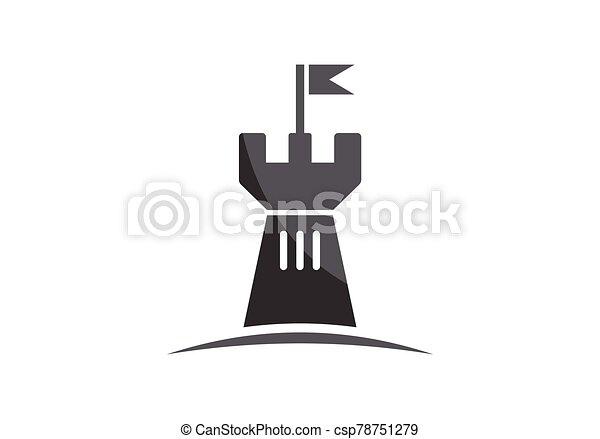 Castle logo icon vector illustration design template - csp78751279