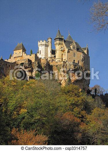 Castle Montfort , valley, forest, autumn, - csp3314757