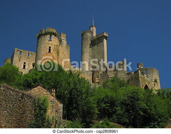 Castle of Bonaguil and the village - csp2808961