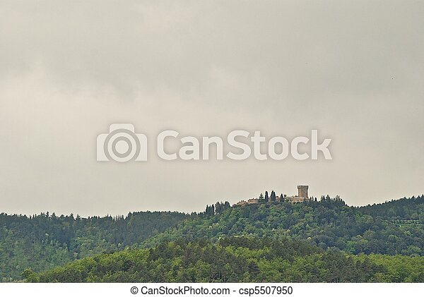 Castle on a hill in Tuscany, Italy. - csp5507950