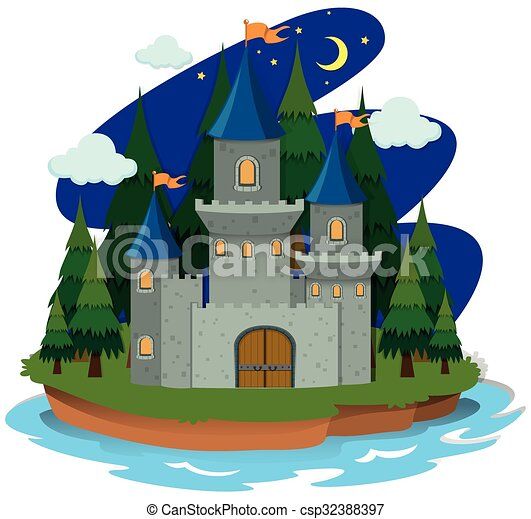 Castle on the island - csp32388397