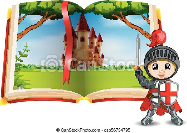 castle scenery in the book and a knight - csp56734795