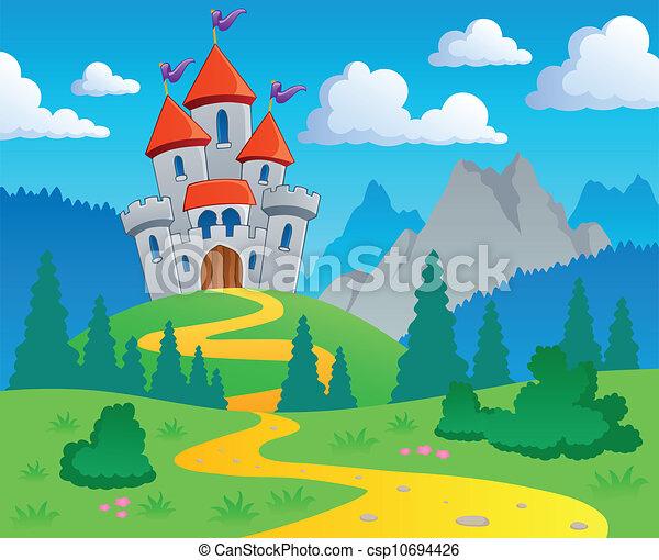 Castle theme landscape 1 - csp10694426