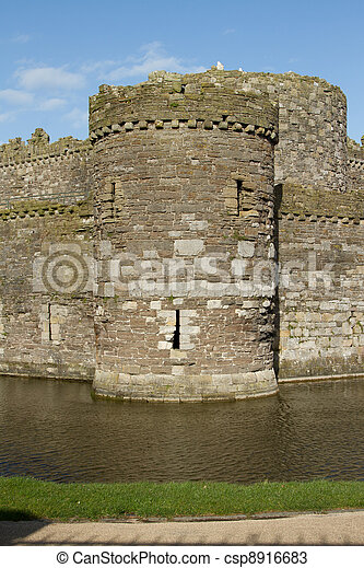 Castle tower and moat. - csp8916683