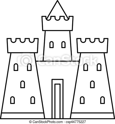 Castle Tower Icon Outline Style Castle Tower Icon Outline