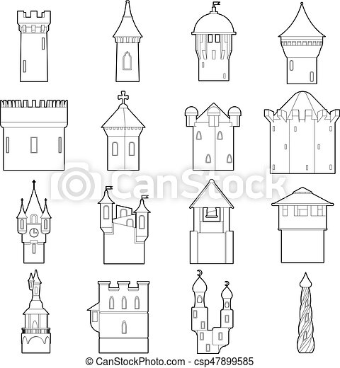 Castle Tower Icons Set Color Outline Style